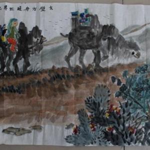 李如意少儿国画《戈壁方舟通世界》